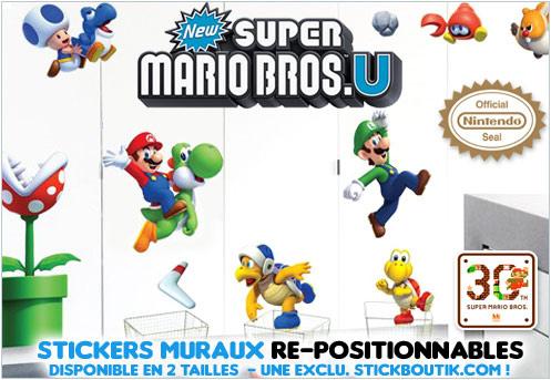 Stickers Muraux NEW Super Mario Bros U - Stickers Super Mario U Geants uniquement sur Stickboutik.com