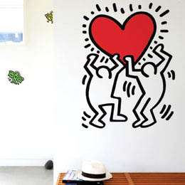 Sticker muraux Dancing Heart XXL par Keith Haring - Stickers NOUVEAUTES